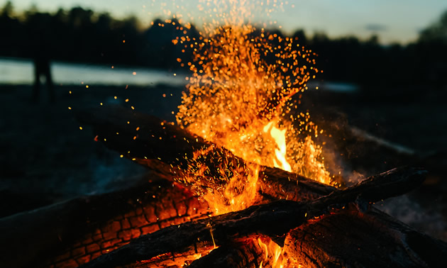 Picture of campfire on beach.
