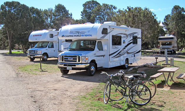 Campground with RV's parked.