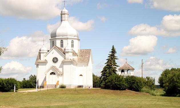 A white heritage church in Camrose County, Alberta.