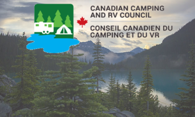 Canadian Camping Council logo, with background of mountain lake.