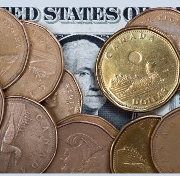 A number of loonies sitting on top of an American dollar bill.