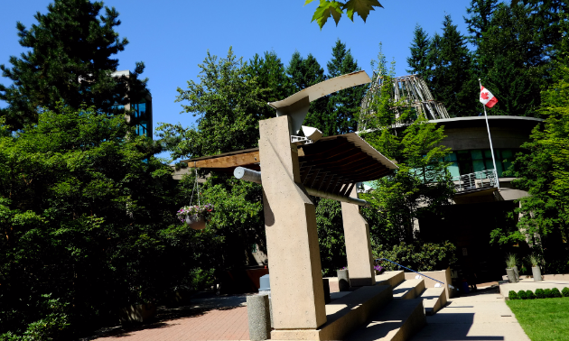 North Vancouver's Capilano University campus features attractive greenery and sculptures.