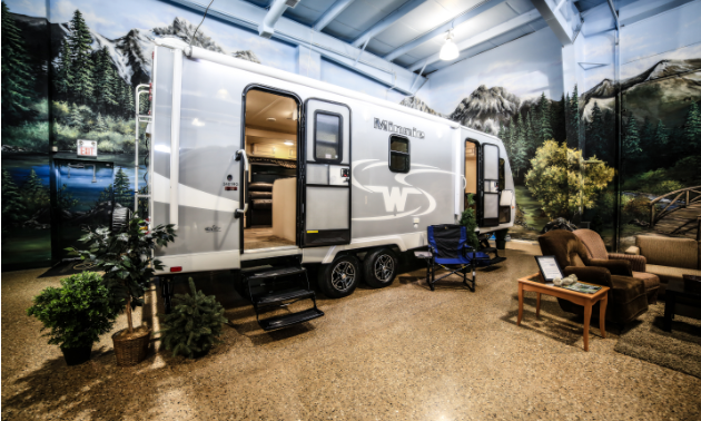 One of the RVs inside the store