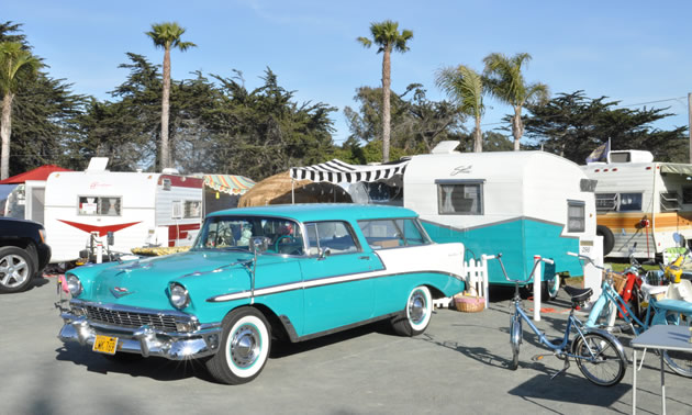 Vintage RV and car