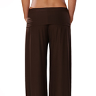 waist-down shot of a woman wearing a casual brown lounge pant
