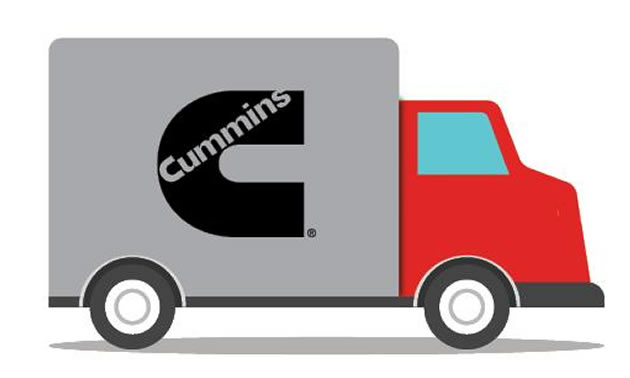 Truck graphic with Cummins logo on side of truck.