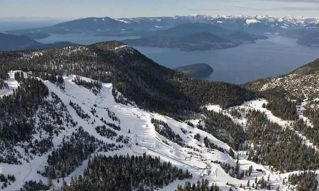 A breathtaking aerial view of Cypress Mountain ski area in Cypress Provincial Park, West Vancouver where the Freestyle Skiing and Snowboarding events were held at the 2010 Winter Olympics.