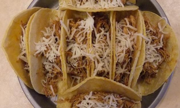 Uncooked chicken burritos