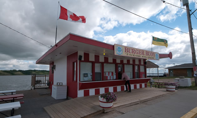 Just up Manitou Beach from Danceland you can order a burger, milkshake and fries.