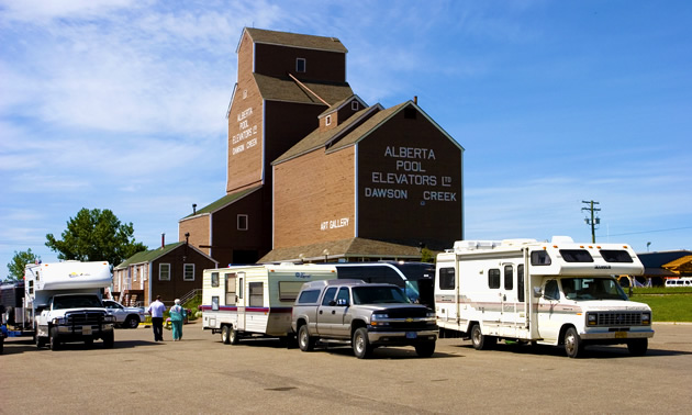 A converted grain elelvator at NAR Park in Dawson Creek holds the Dawson Creek Art Gallery.
