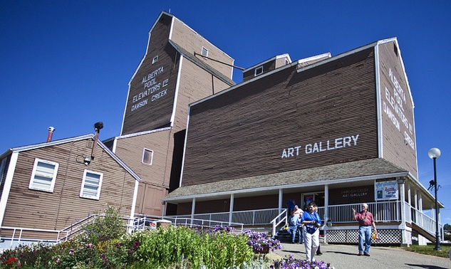 An old Alberta Wheat Pool grain elevator has been converted into the Dawson Creek Art Gallery.