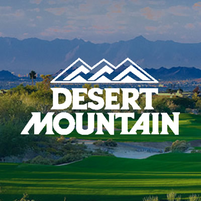 Logo of Desert Mountain, with picture of course.