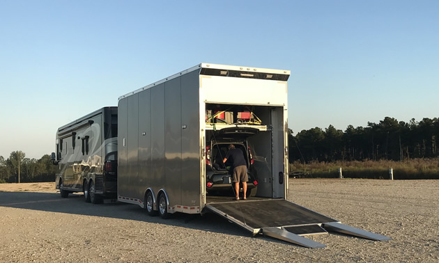 The Smiths' rig is rolling garage, hangar and workshop.