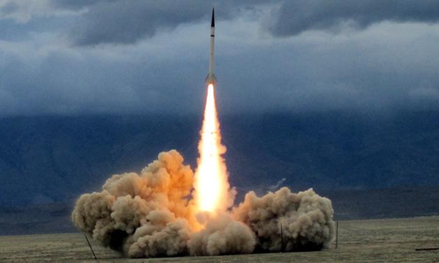 A rocket being launched near Pasadena, California by NASA