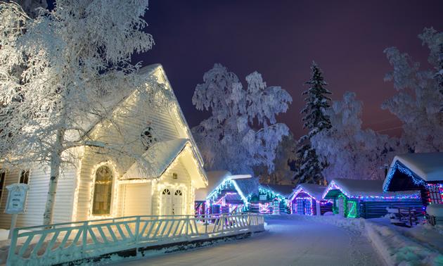 Pioneer Park lit up for the winter season in Fairbanks, Alaska.