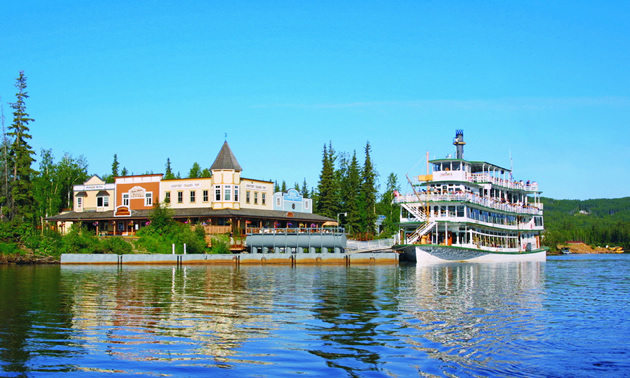 Steamboat Landing and the Riverboat Discovery on the Chena River in Fairbanks, Alaska.