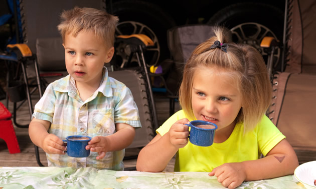 Campers in our family gather for morning coffee, and we even have a special kids's coffee (hot chocolate).