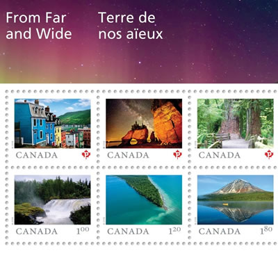 Canada Post's new 'Far and Wide' collection of stamps.