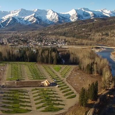 Aerial view of the Fernie RV Resort.