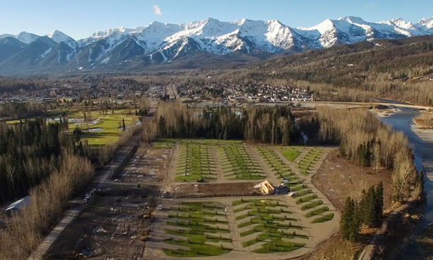 Aerial view of the Fernie RV Resort.