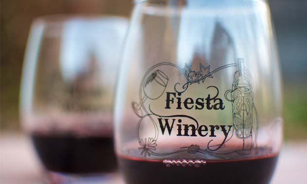 Two glasses of red wine from Fiesta Winery in Fredericksburg, Texas.