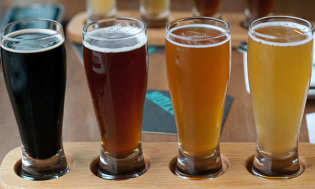This sample flight includes (left to right) stout, red ale, IPA and a wheat beer, but drink these right to left.