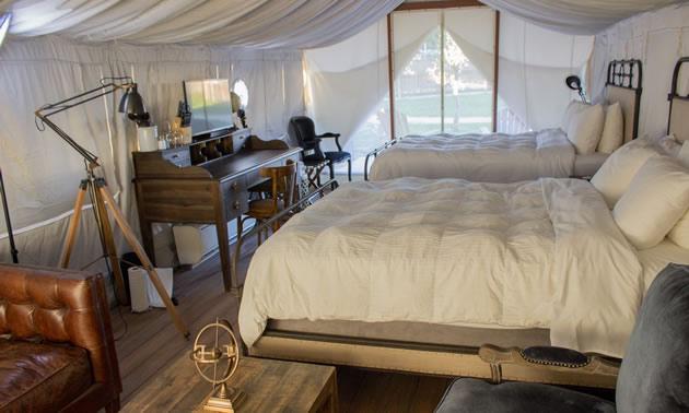 Interior of the Safari tent.