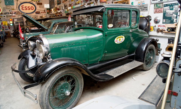 An antique car is shown at the Fort Nelson Historical Museum