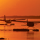 Float planes land at the docks on the Mackenzie River