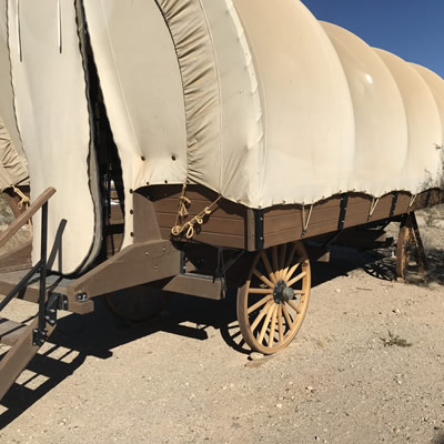 A covered wagon at Frandy Park Campground.