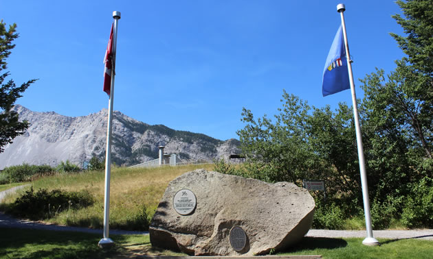 A memorial at the Frank Slide site.