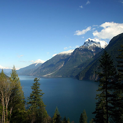 The mountainous vista of Harrison Lake near Agassiz, B.C.