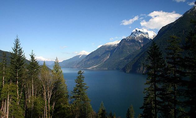 The mountainous vista of Harrison Lake near Agassiz, B.C.