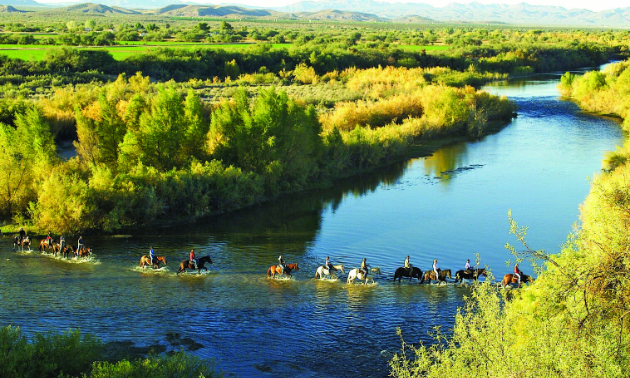 Riding through Verde River, Fort McDowell, AZ.