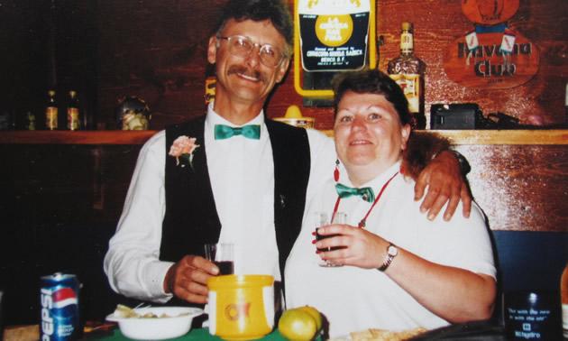 Carol and Bob play bartenders while Gus plays English pub.