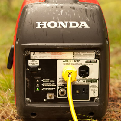 Close up of front of Honda generator.