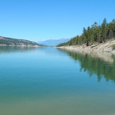 A view of Lake Koocanusa on a serene morning.