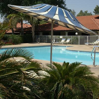 Poolside at the La Hacienda RV Resort in Arizona.
