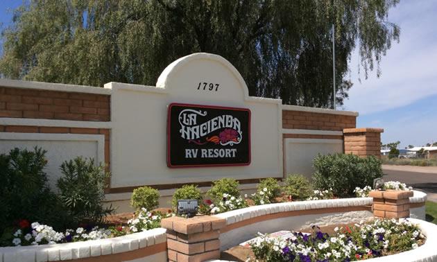Entrance of the La Hacienda RV Resort.