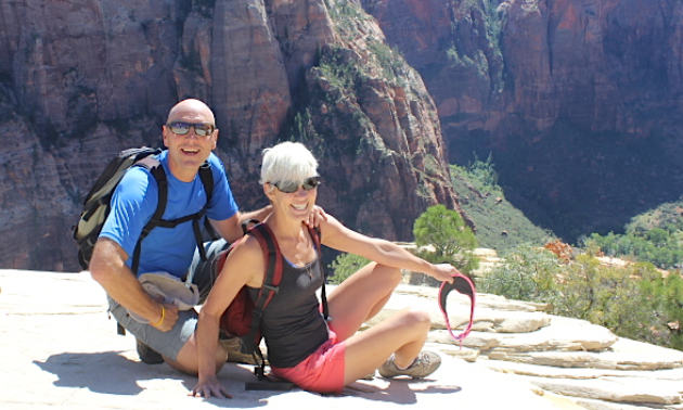 John and Shelley Smith at Angel's Landing in Zion National Park, Utah.