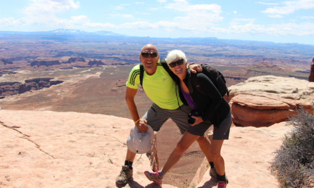 "In Shelley's words, she and John are ""pretending to be risky"" in Canyonlands National Park, Utah."