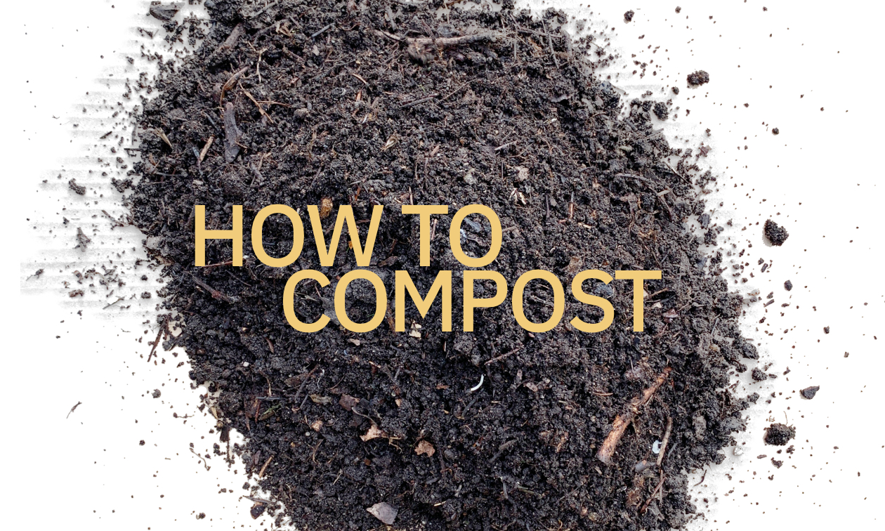 """A pile of black compost with a title that says """"How to compost"""""""