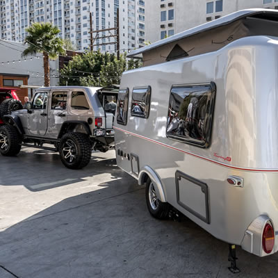 The Hymer Touring GT is a stylish ultra-light-weight towable trailer.