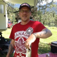 Rainbow trout fishing in Kootenay Lake on Canada Day while staying at Mirror Lake Campground by Kaslo, BC.