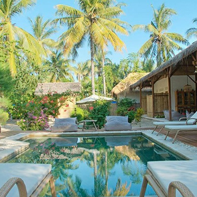 Indonesia glamping with pool.