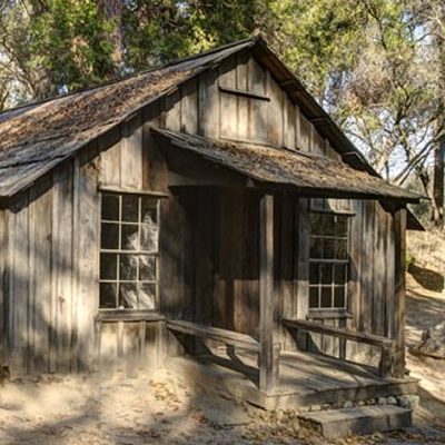 Old, weathered cabin in the woods.