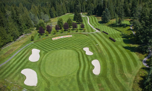 Aerial view of manicured golf course.