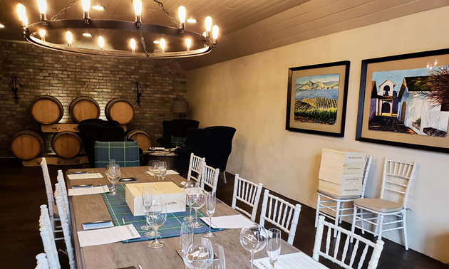 The elegant Lake Breeze Vineyards' tasting room is ready for a guided tasting.