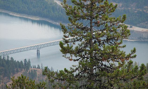 View of Lake Koocanusa Bridge, Eureka, Montana