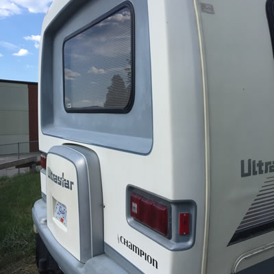 A back view of the RV.